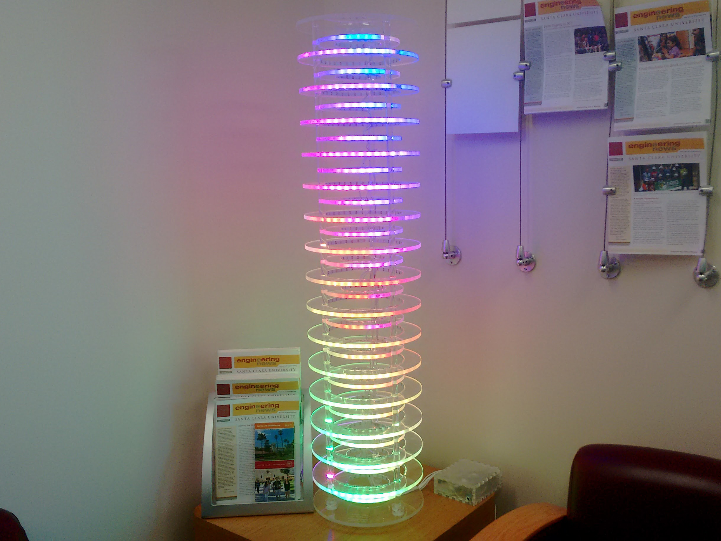 LED art piece made by KEEN Engineering Art Challenge winners