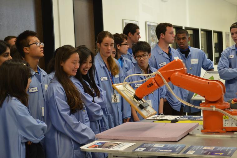 High school students taking part in the Summer Engineering Seminar visit Flextronics