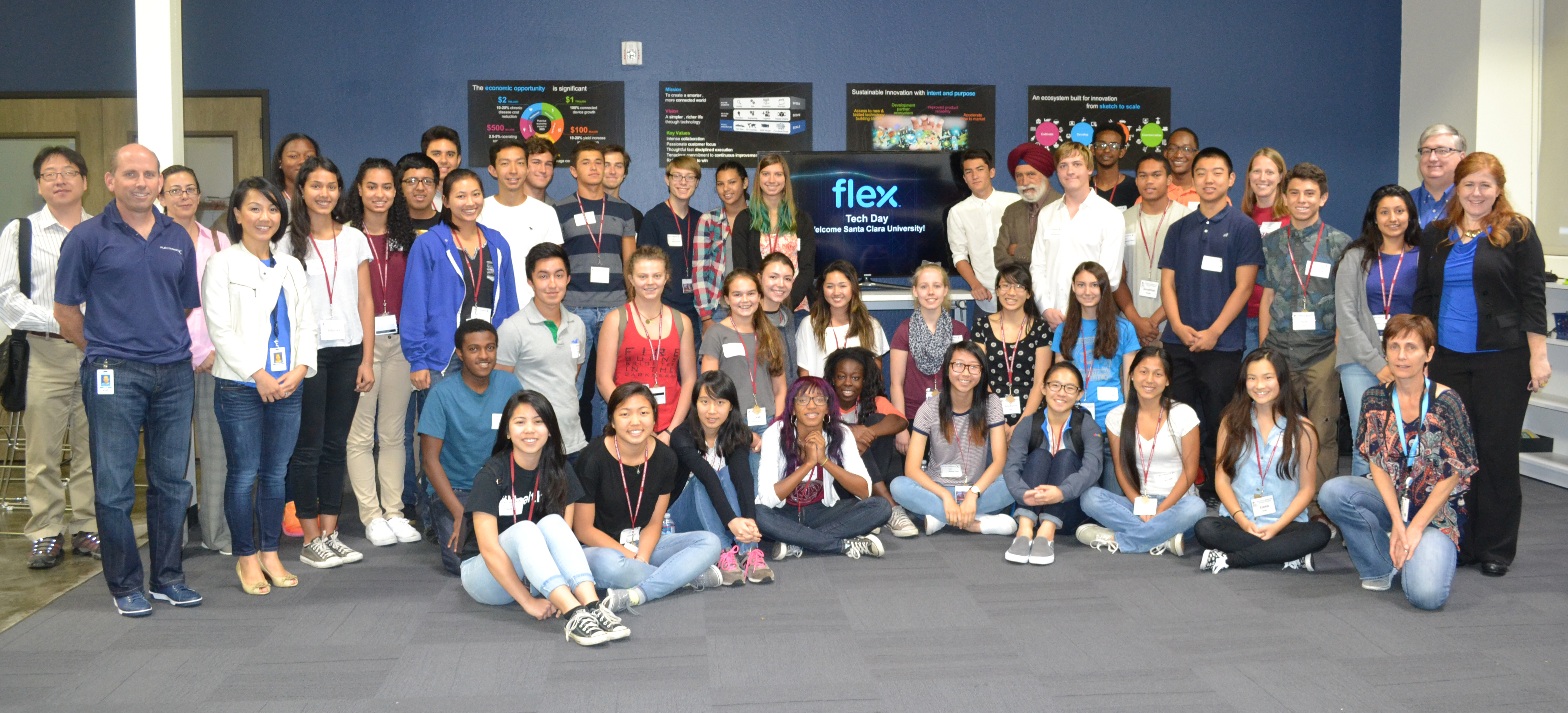 High school students taking part in the School of Engineering's Summer Engineering Seminar visit the Flex Innovation Center