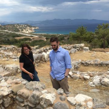 Professors Holzmeister and Taylor at an archeological site in Crete image link to story