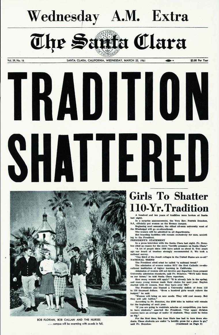 Front page of The Santa Clara announcing admittance of women to SCU.