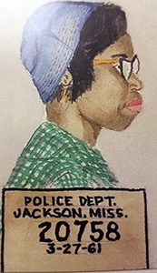 An illustration of Geraldine Hollis's mugshot after her arrest for sitting in at a 